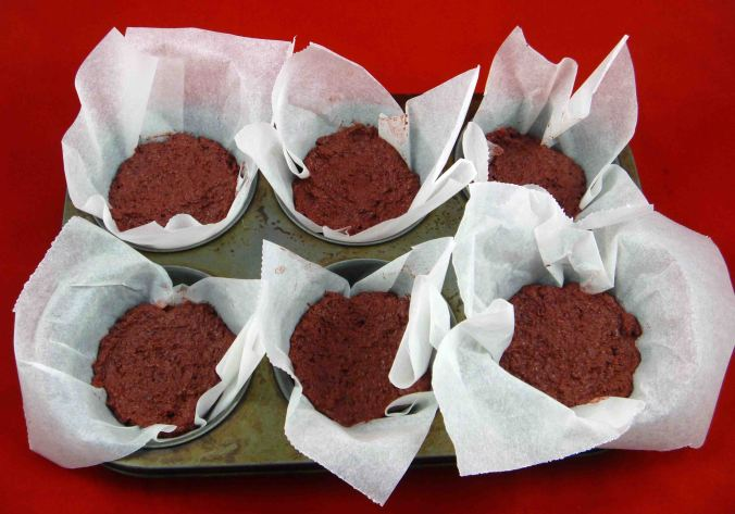 Chocolate beetroot cupcakes uncooked