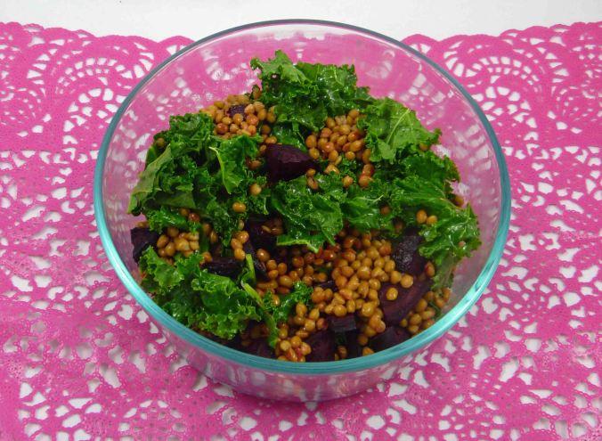 Beetroot lentil kale salad