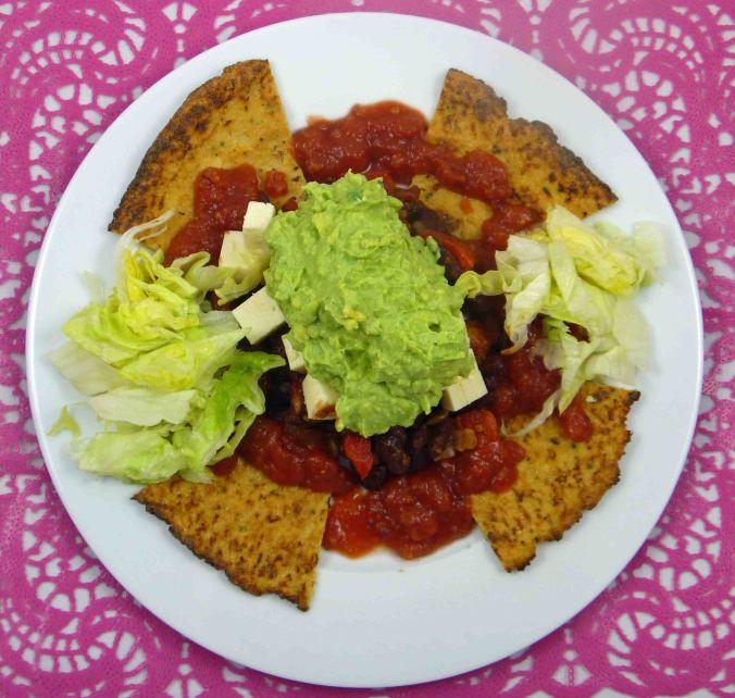 Cauliflower tortilla chip nachos 2