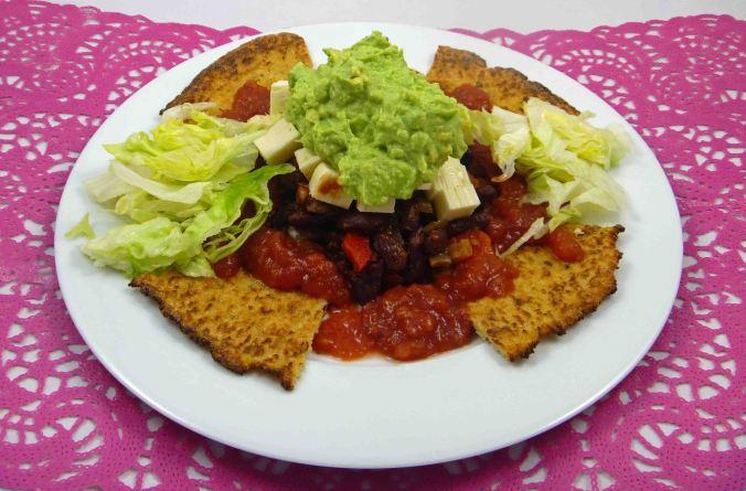 Cauliflower tortilla chip nachos