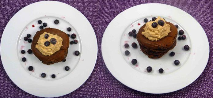 Chocolate blueberry protein pancakes