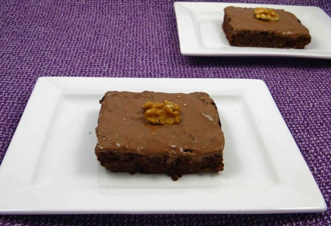 Chocolate ginger walnut chickpea brownie