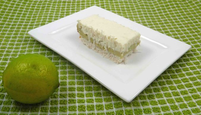 Coconut and lime cheesecake slice