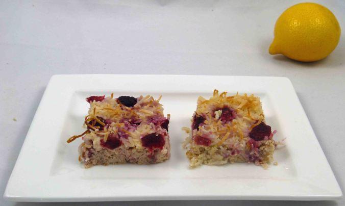 Lemon ricotta raspberry slice