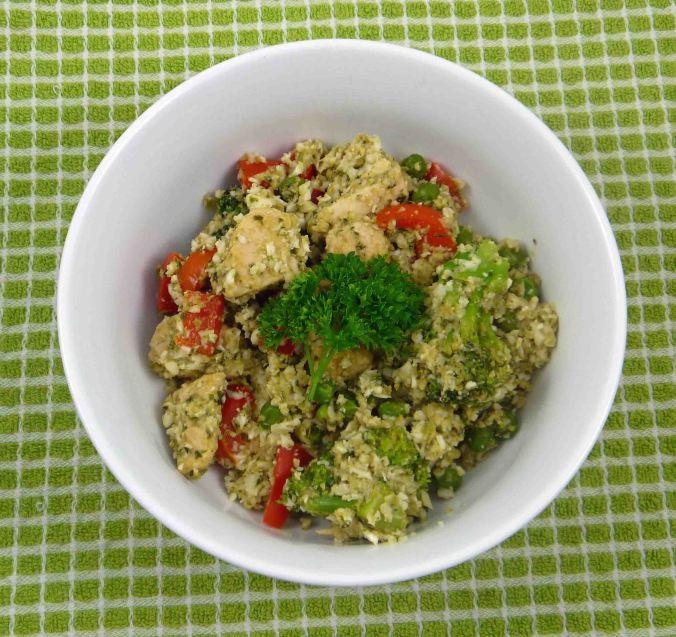 Pesto chicken risotto with cauliflower rice