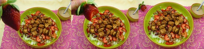 Balsamic chicken and strawberry salad panel