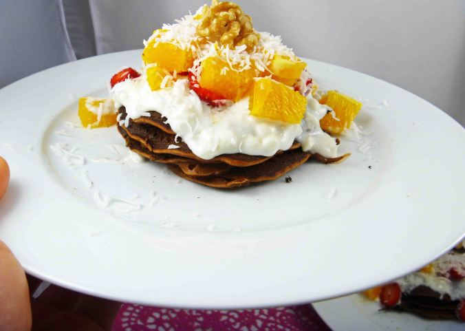 Choc orange protein pancakes 1