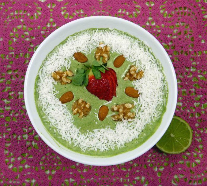 Matcha strawberry lime smoothie bowl