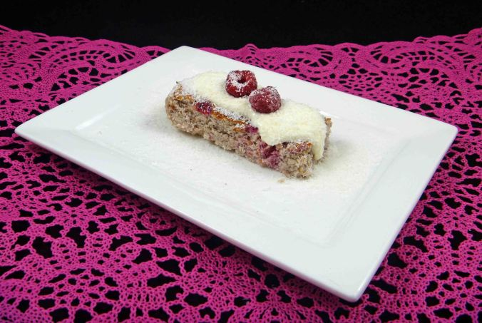 Coconut raspberry cinnamon cake