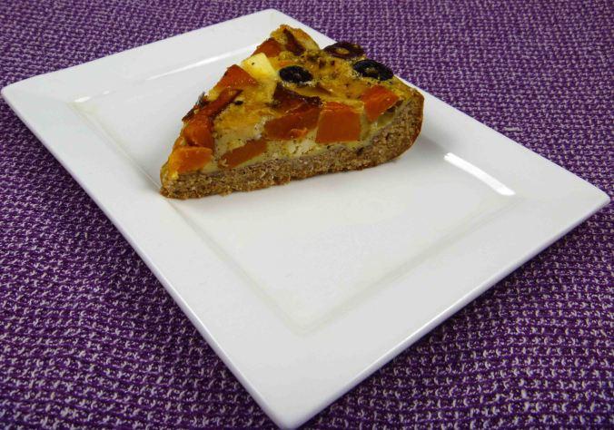 Roast pumpkin feta olive quiche slice