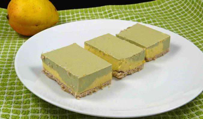 Matcha and mango cheesecake