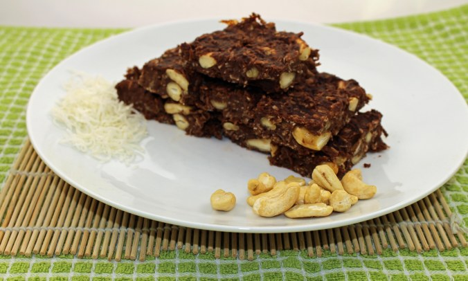 Chocolate banana peanut butter slice