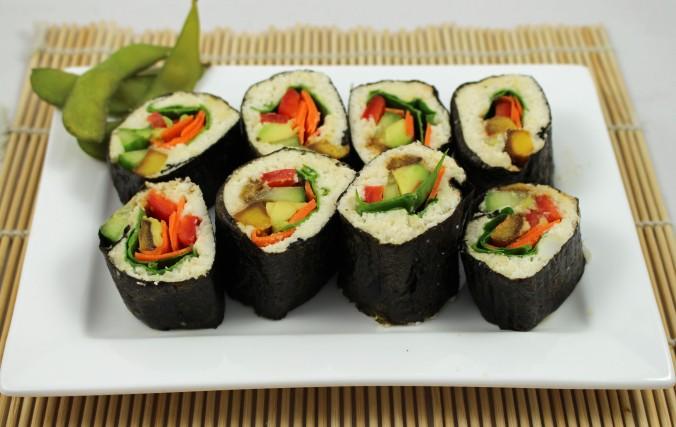 Raw cauliflower sushi
