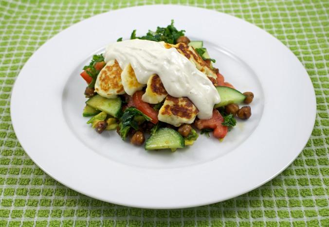 Sesame chickpea halloumi salad 2
