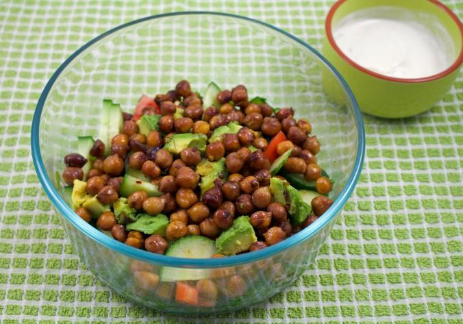 Sesame chickpea halloumi salad